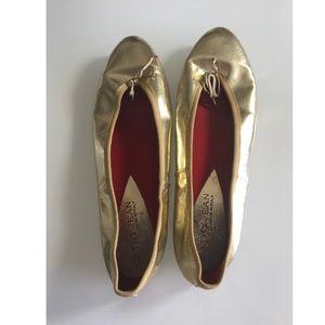 Gold metallic ballet flats